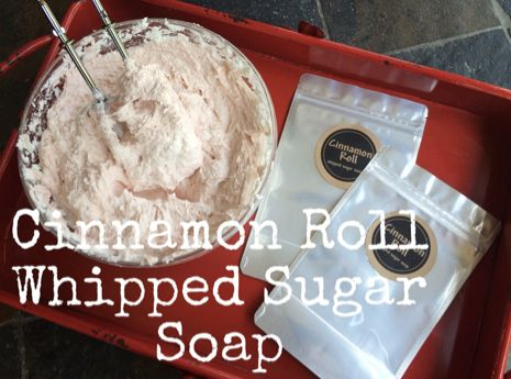 Recipe: Cinnamon Roll Whipped Sugar Soap. Enjoy! :) http://www.bulkapothecary.com/blog/other-recipes/recipe-cinnamon-roll-whipped-sugar-soap/