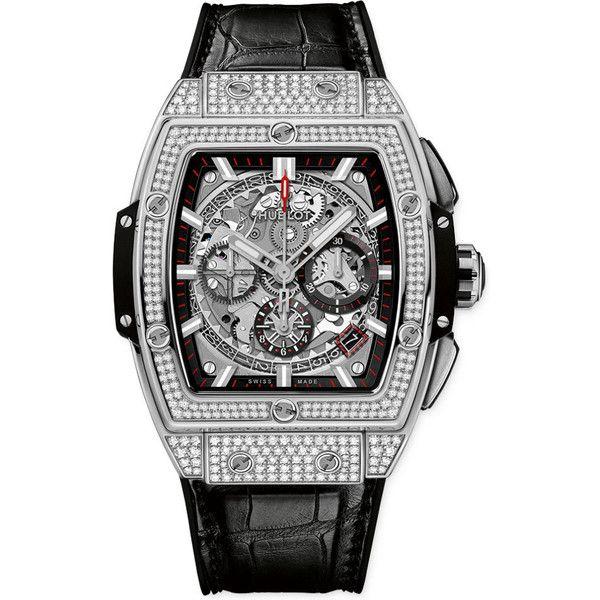 Hublot Spirit Of Big Bang Chronograph 42mm 641.nx.0173.lr.1704 Watch ($24,375) ❤ liked on Polyvore featuring men's fashion, men's jewelry, men's watches, titanium, hublot mens watches, mens chronograph watches and mens diamond bezel watches