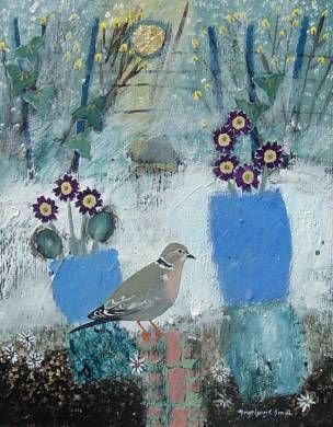 Snowy Garden Colared Dove. Mixed Media. 21x27cms. Ingeborg Smith. £360