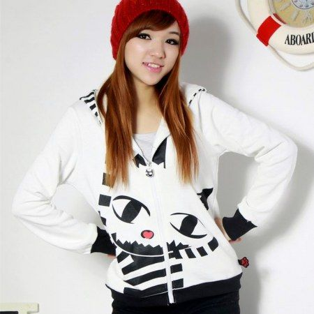 Cats cosplay hoodies with ears for women white zip up hoodies