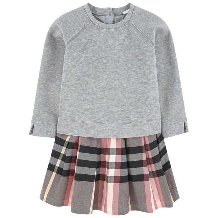 Top: Stretch milano jersey Super stretch Mini skirt: Cotton twill Fine cotton lining Bi-material dress Crew neck Raglan long sleeves Slits at the bottom Flared hem Buttons in the back Logo buttons Check print Randomly placed patterns - 185,00 €