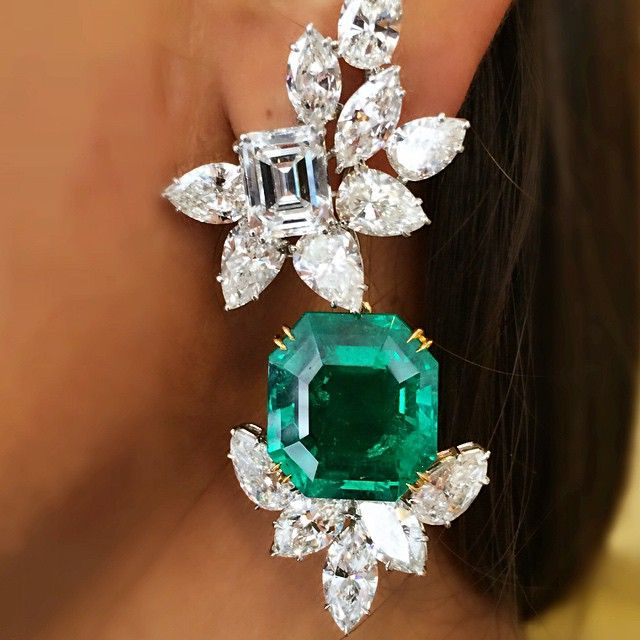 Million Dollar Earrings By Harry Winston Emeralds Approx