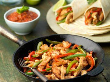 Hühnchen-Fajitas mit Paprika-Zwiebel-Füllung