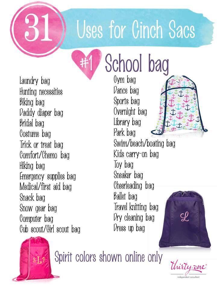 31 uses cinch sack                                                                                                                                                                                 More