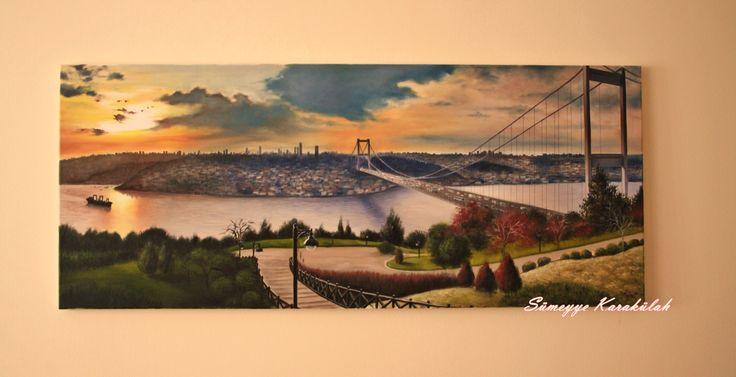 yağlıboya / Otağtepe'den İstanbul .. 50x120cm Sümeyye KARAKÜLAH