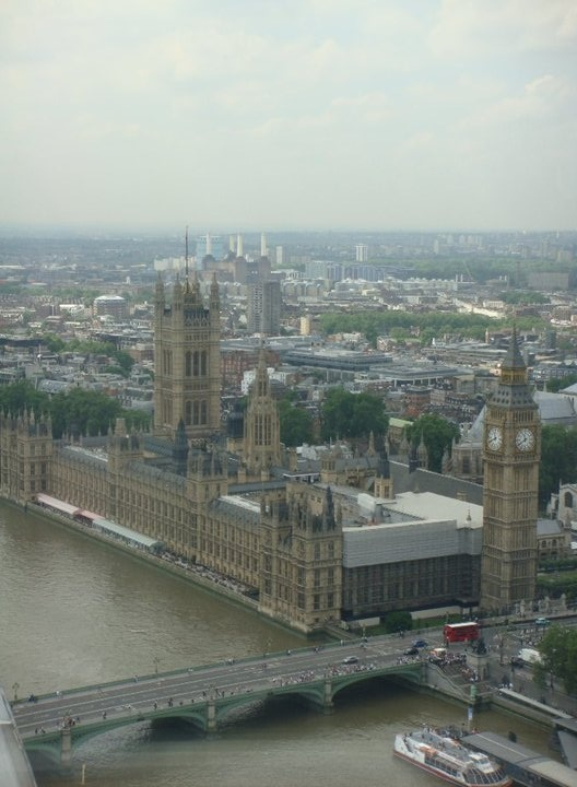 Westminster & Big Ben's aerial view ( taken whilst indide the London Eye) - London, UK
