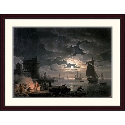 """Global Gallery 'Harbor of Palermo' by Claude-Joseph Vernet Framed Painting Print Size: 33.67"""" H x 44"""" W x 1.5"""" D"""