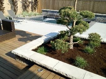 Stone patio, wood deck, tree, modern swimming pool. Modern landscape designs. Completed by Leaf Garden Design Inc.  | westview