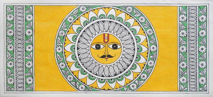 Shop Madhubani Painting - Sungod With Kalamkari Details by Kalakruti online…