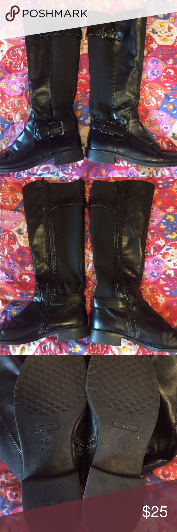 Black Leather Riding Boots Size 7 Gently worn black  riding boots from Target Mossimo Supply Co. Shoes Combat & Moto Boots