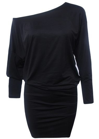 Black Skew Neck Three Quarter Sleeve Dress on sale only US$23.97 now, buy cheap Black Skew Neck Three Quarter Sleeve Dress at lulugal.com