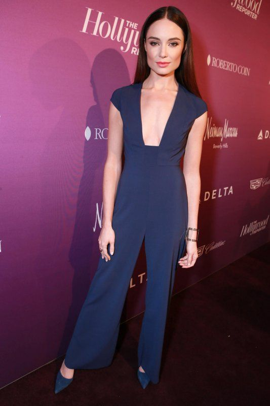 Mallory Jansen in a navy jumpsuit at THR's Nominees Night Party