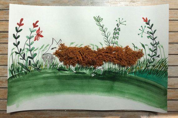 Fox on field / Art drawing/ Art Decoration by ludmilu on Etsy