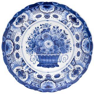 Jp Round Plate Delft Blue Flower Basket Disheswhite