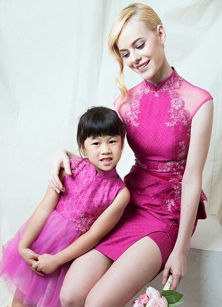 Mommy-Daughter Fuchsia Dress  For pricing, sizing, and ordering details please email us at nmayinda@gmail.com, Whatsapp us at 08111047891, or BB us at 2B07B968.
