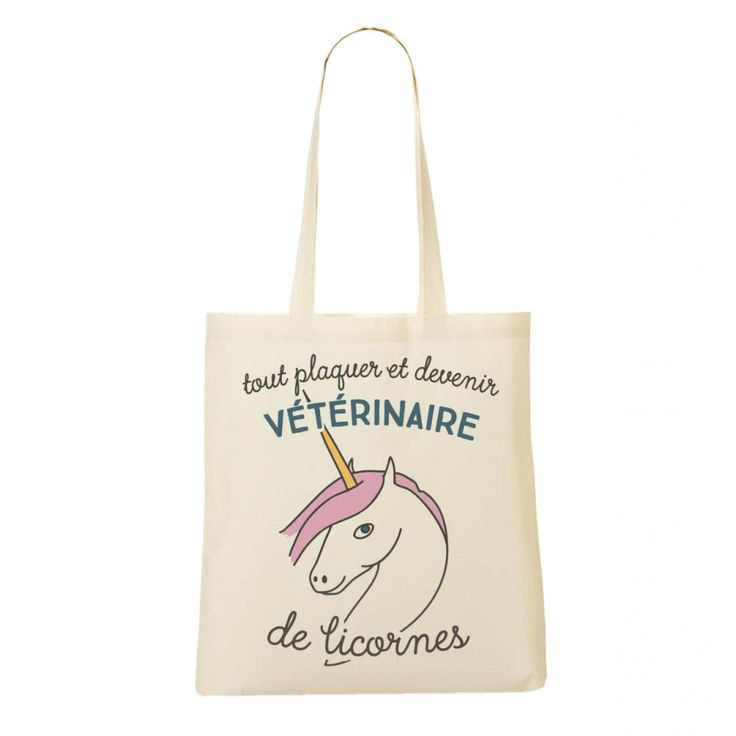 Totebag Femme Devenir Vétérinaire De Licorne Naturel by Madame TSHIRT