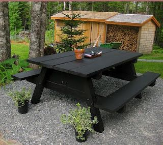 Old picnic table redone in chalkboard paint - fun idea!!  Bring on the tic tac toe and hangman!! :)
