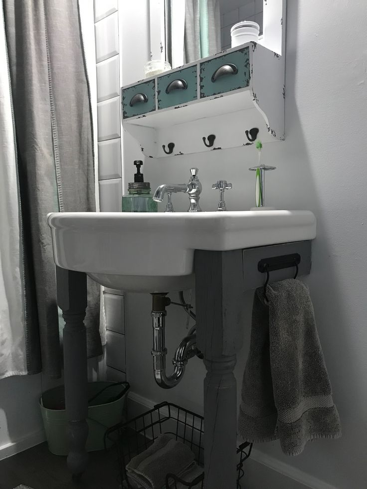 Sink from Amazon, faucet from Wayfair and legs from salvage store. Simple towel holder is toilet roll holder from Ikea.
