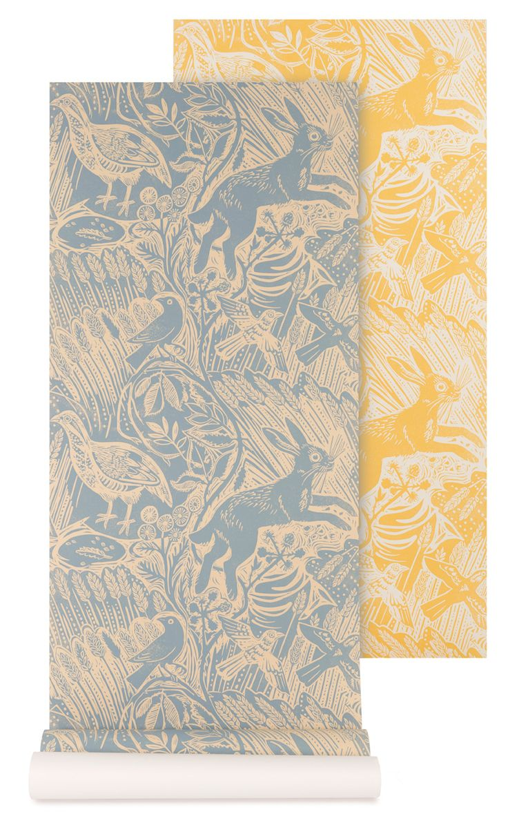 'Harvest Hare' wallpaper by Mark Hearld for St. Jude's.: Wall Wallpaper Patterns, Favourite Prints Patterns, Design Walls, Lino Prints, Chilpa S Room, Wallpaper Dreams, Hare Wallpaper, Boy
