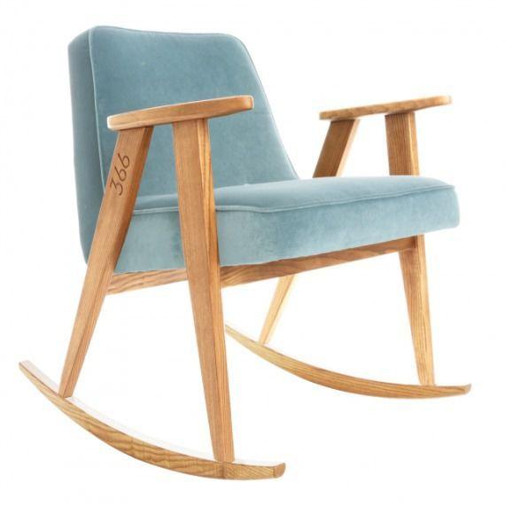 Fotel bujany 366 Velvet Niebieski Jasny dąb