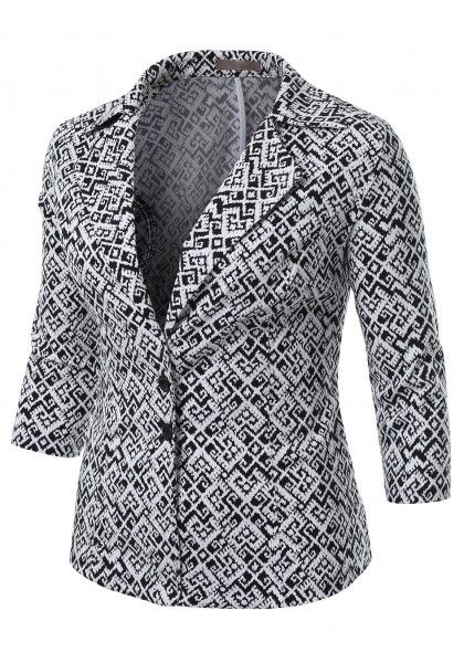 Ikat Printed Single Button Blazer With 3/4 Sleeve #jtomsonplussize