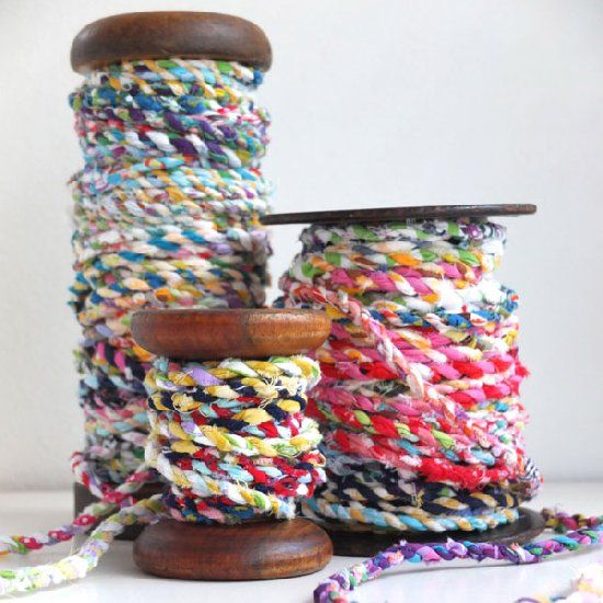 Turn that  pile of fabric scraps into pretty and practical twine. Perfect for gift wrapping and other craft projects.