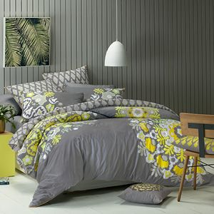 The Mandala, a mystic symbol of the universe is depicted by intricate circular forms featuring a lemon/lime and white print that creates a stunning highlight for the pewter background of this design. A tile pattern reverse and euro pillowcase, piped trim and heavily embroidered cushion covers, add extra luxury. Quilt cover has button closure. www.lorrainelea.com