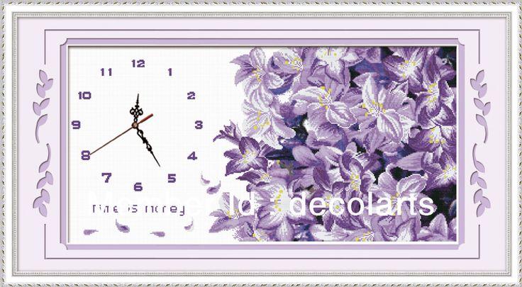 hand embroidery stitches cross stitch clock kits free shipping US $17.94