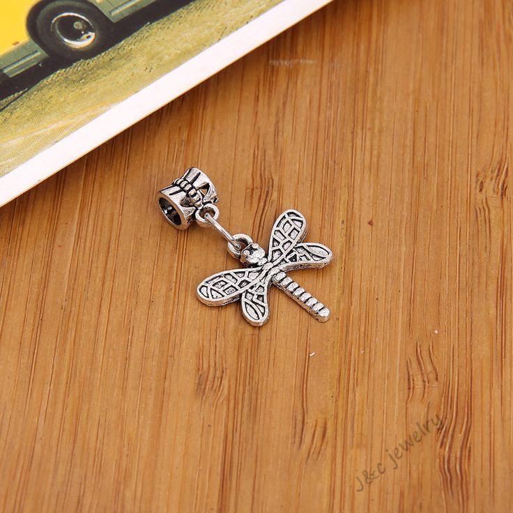15 pcs Vintage tibetan silver big hole bead fit Pandora charm bracelet DIY  dragonfly charms for jewelry making 2846