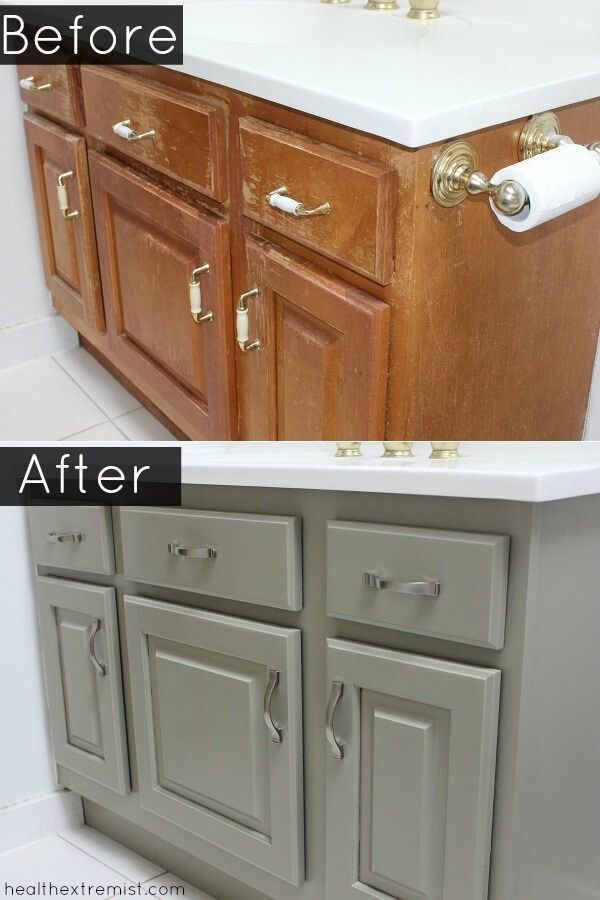 How To Refinish A Bathroom Vanity Naturally No Vocs In 2020 Painted Cabinets Diy