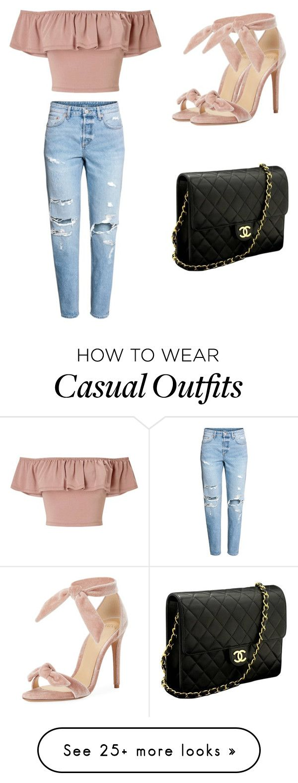 """casual but cute"" by pacificislvnder on Polyvore featuring Miss Selfridge, Alexandre Birman and Chanel"