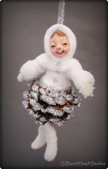 pine cone baby    Spun cotton ornament