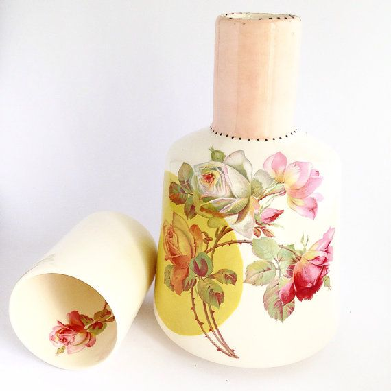 Ceramic Water Jug with Cup Personalised Water Bottle by maribray