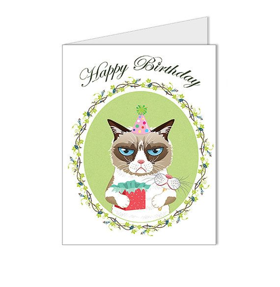 Art - Illustration - Happy Birthday Card - Grumpy Cat Illustration - Digital Art Children's Art Blank Card (Get 10% OFF)