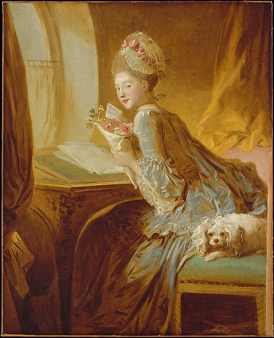 The Love Letter  Jean Honoré Fragonard  (French, Grasse 1732–1806 Paris)    Date:      ca. 1770  Medium:      Oil on canvas  Dimensions:      32 3/4 x 26 3/8 in. (83.2 x 67 cm)   Classification:      Paintings  Credit Line:      The Jules Bache Collection, 1949  Accession Number:      49.7.49    This artwork is not on display