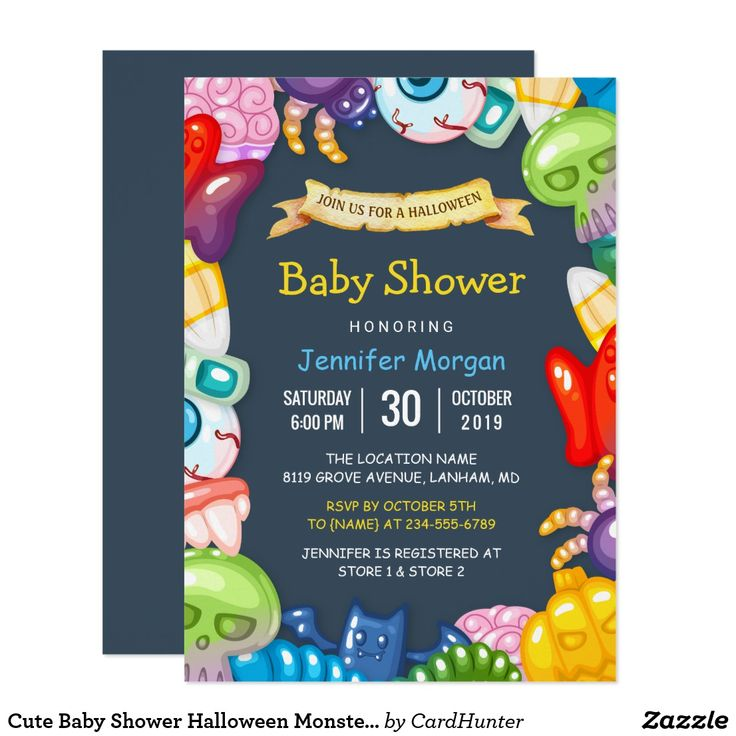 513 best baby shower invites images on pinterest cute baby shower halloween monsters theme card stopboris Images