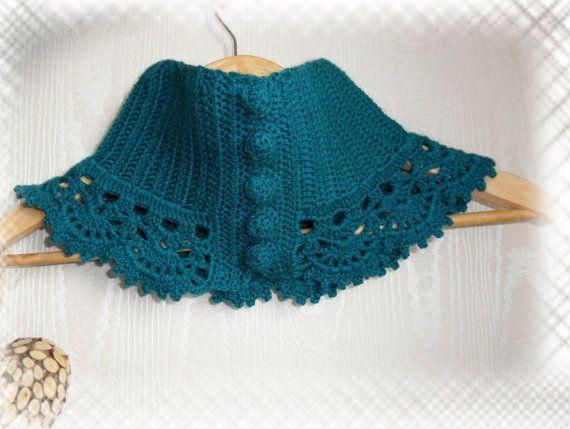 Crochet Neckwarmer Cowl Scarflette Victorian Steampunk Style Neck Warmer