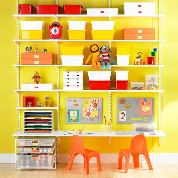 Kid desk area made out of retail store shelves. LOVE THIS IDEA SO MUCH. I think you can buy these shelves at Home Depot too. I will be doing this.