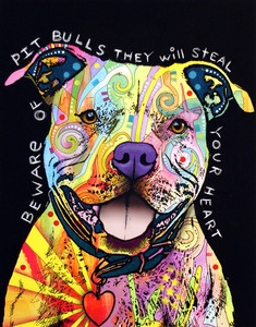 """""""Beware of Pitbulls, they will Steal Your Heart"""" by Dean Russo Art — Beware Of Pit Bulls PRINT"""