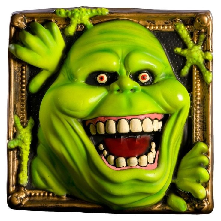 Decorate your Halloween party with this wall decoration based on the popular Ghostbusters film series. It features everyone's favorite hungry ghost, Slimer.