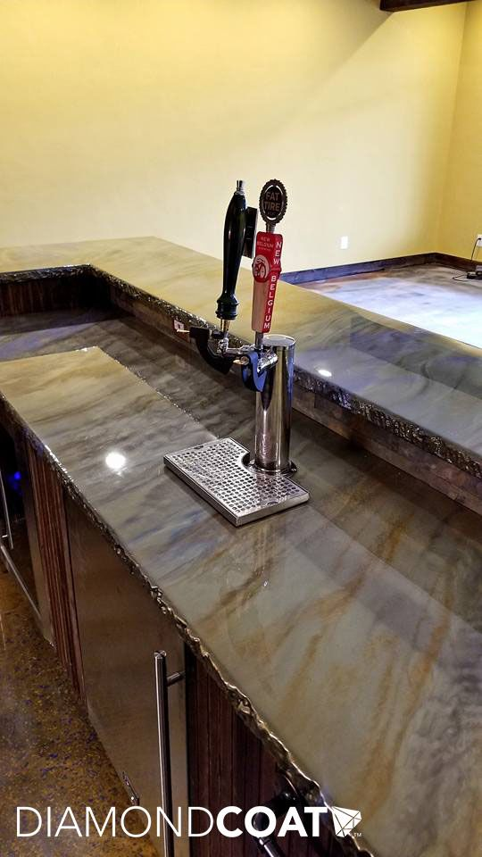 This Epoxy Bartop Has A Faux Chiseled Edge And Colors Galore Kitchens In 2019 Resin Countertops Concrete