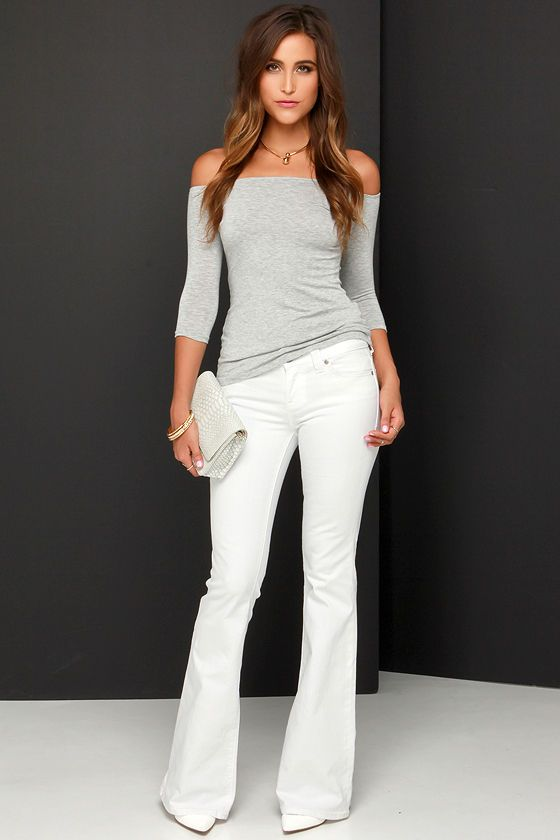 Dittos Christine White Flare Jeans at Lulus.com!
