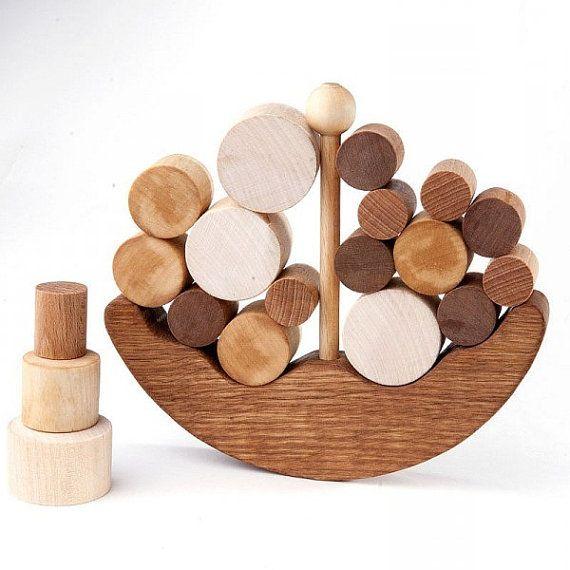 Juguete de equilibrio de madera, barco juguete educativo para sistema educativo niños, juego de madera Natural del balanceador, regalo hecho a mano de los niños