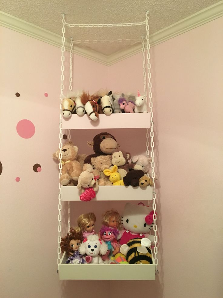 Stuffed animal swing (DIY storage) Grabbed some kitchen drawers painted them and hung them with a white chain