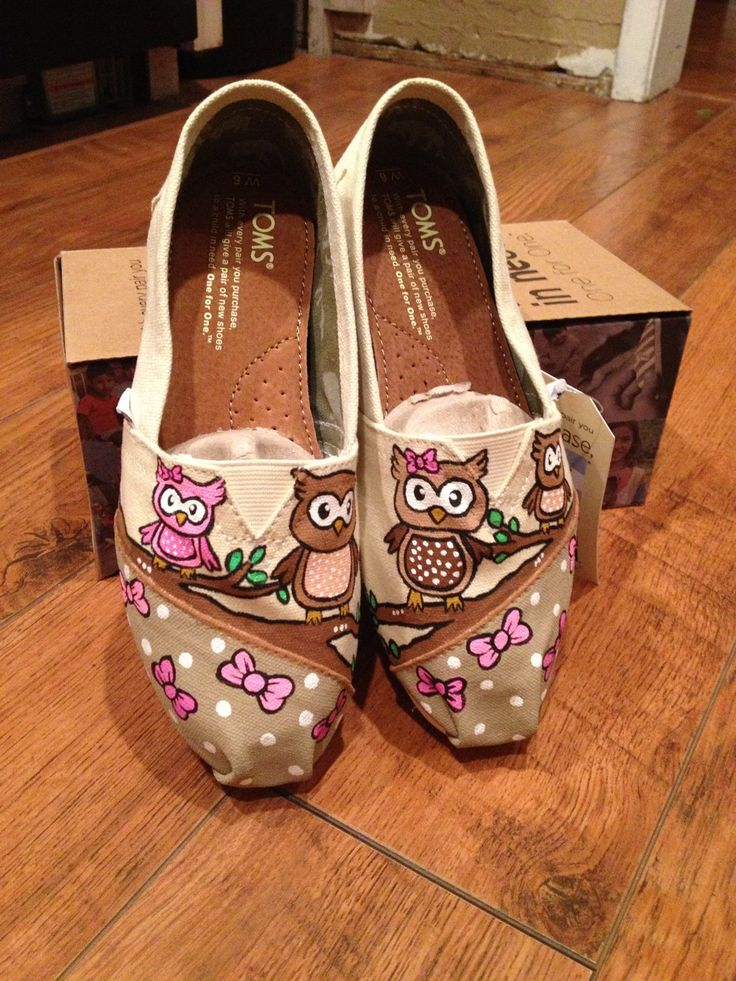 Custom Painted Owl Toms Shoes. $115.00, via Etsy.