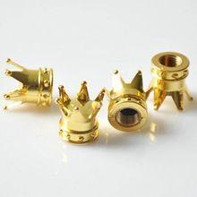 4 pz/lotto oro silver auto camion moto bike corona a forma di rotella della gomma stelo air valve cap di alta qualità accessori pneumatici(China (Mainland))
