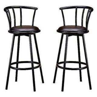 29inch black finish swivel bar stool chairs set of two