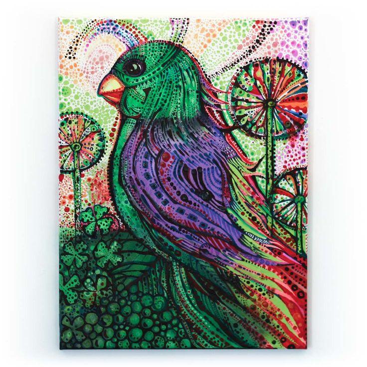 Papużka szczęśliwości | Płótno, technika mieszana | 40 x 30 x 1,5 cm