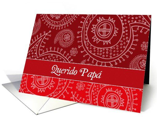 Happy Father's day in Spanish, elegant text on red paisley background card