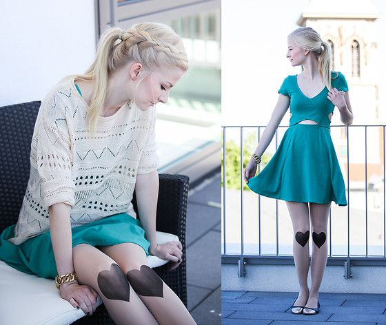 H&M Dress, Chicwish Tights, Görtz Shoes, Fossil Watch, Sheinside Sweater